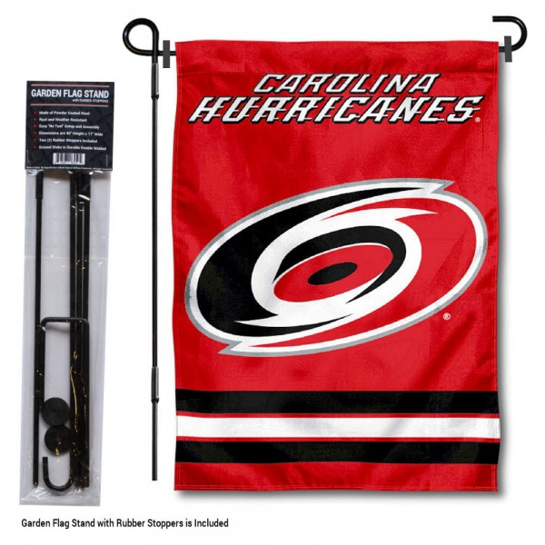 """Carolina Hurricanes Garden Flag and Flagpole Stand kit includes our 12.5""""x18"""" garden banner which is made of 2 ply poly with liner and has screen printed licensed logos. Also, a 40""""x17"""" inch garden flag stand is included so your Carolina Hurricanes Garden Flag and Flagpole Stand is ready to be displayed with no tools needed for setup. Fast Overnight Shipping is offered and the flag is Officially Licensed and Approved by the selected team."""