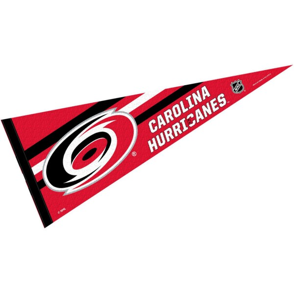 Carolina Hurricanes NHL Pennant is our full size 12x30 inch pennant which is made of felt, is single sided screen printed, and is perfect for decorating at home or office. Display your NHL hockey allegiance with this NHL Genuine Merchandise item.