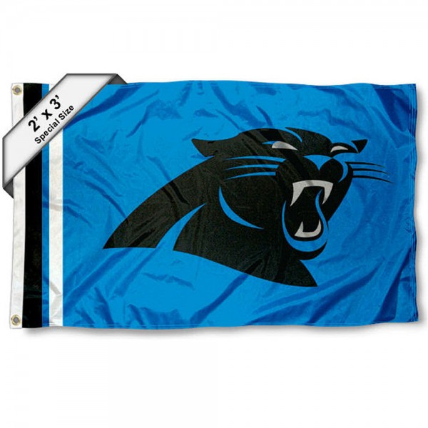 Carolina Panthers 2x3 Feet Flag measures 2'x3', is made polyester, has quadruple stitched flyends, two metal grommets, and offers screen printed NFL Carolina Panthers logos and insignias. Our Carolina Panthers 2x3 Foot Flag is NFL Officially Licensed and approved.