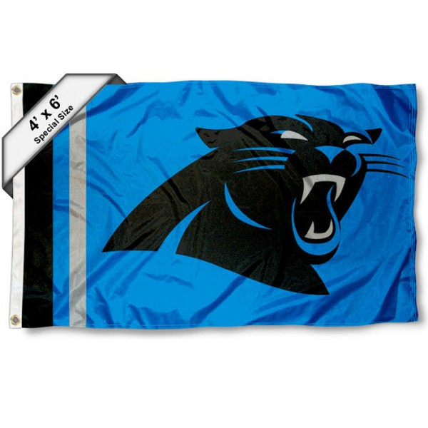 Carolina Panthers 4x6 Flag measures a large 4x6 feet, is made polyester, has quadruple stitched flyends, two metal grommets, and offers screen printed NFL Carolina Panthers logos and insignias. Our Carolina Panthers 4x6 Foot Flag is NFL Officially Licensed and Carolina Panthers approved.