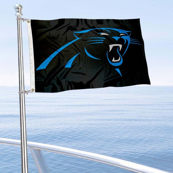 "Our Carolina Panthers Boat and Nautical Flag is 12""x19"", made of three-ply poly, has a solid header with two metal grommets, and is double sided. This Boat and Nautical Flag for Carolina Panthers is Officially Licensed by the NFL and can also be used as a motorcycle flag, boat flag, golf cart flag, or recreational flag."