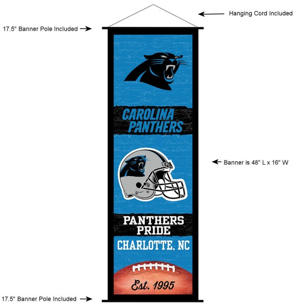"This ""ready to hang"" Carolina Panthers Decor and Banner is made of polyester material, measures a large 17.5"" x 48"", offers screen printed athletic logos, and includes both top and bottom 3/4"" diameter plastic banner poles and hanging cord. Our Carolina Panthers D�cor and Banner is Officially Licensed by the selected team and NFL."