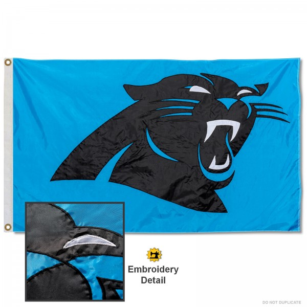 This Carolina Panthers Embroidered Nylon Flag is double sided, made of nylon, 3'x5', has two metal grommets, indoor or outdoor, and four-stitched fly ends. These Carolina Panthers Embroidered Nylon Flags are Officially Approved the Carolina Panthers and NFL.