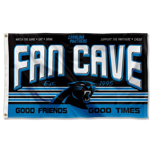 Our Carolina Panthers Fan Cave Flag Large Banner is double sided, made of poly, 3'x5', has two metal grommets, indoor or outdoor, and four-stitched fly ends. These Carolina Panthers Fan Cave Flag Large Banners are Officially Approved by the Carolina Panthers.