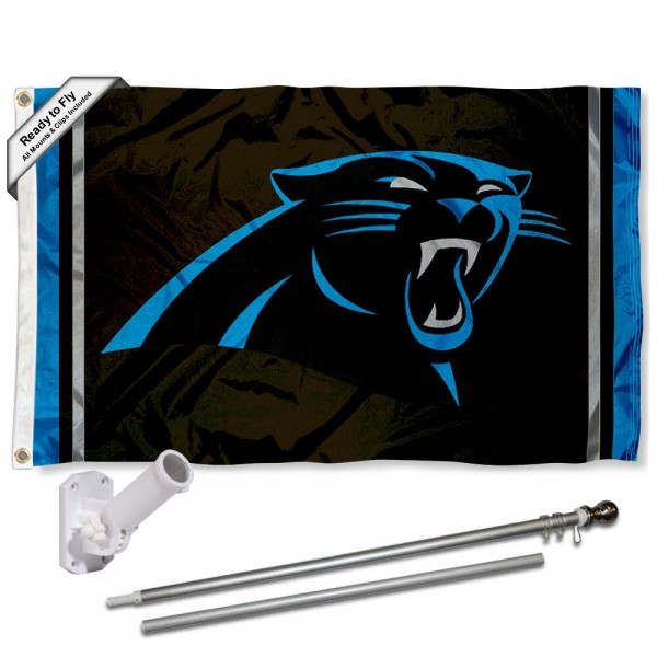 Our Carolina Panthers Flag Pole and Bracket Kit includes the flag as shown and the recommended flagpole and flag bracket. The flag is made of polyester, has quad-stitched flyends, and the NFL Licensed team logos are double sided screen printed. The flagpole and bracket are made of rust proof aluminum and includes all hardware so this kit is ready to install and fly.