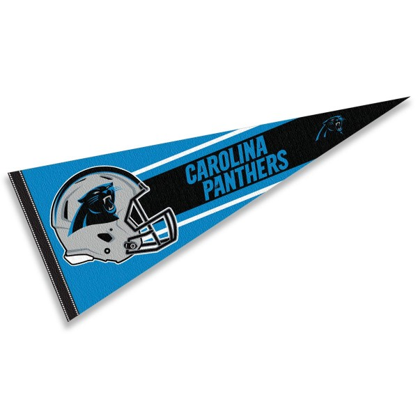 This Carolina Panthers Football Pennant measures 12x30 inches, is constructed of felt, and is single sided screen printed with the Carolina Panthers logo and helmets. This Carolina Panthers Football Pennant is a NFL Officially Licensed product.