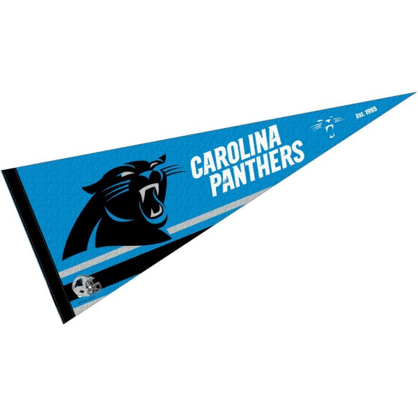 This Carolina Panthers Full Size Pennant is 12x30 inches, is made of premium felt blends, has a pennant stick sleeve, and the team logos are single sided screen printed. Our Carolina Panthers Full Size Pennant is NFL Officially Licensed.
