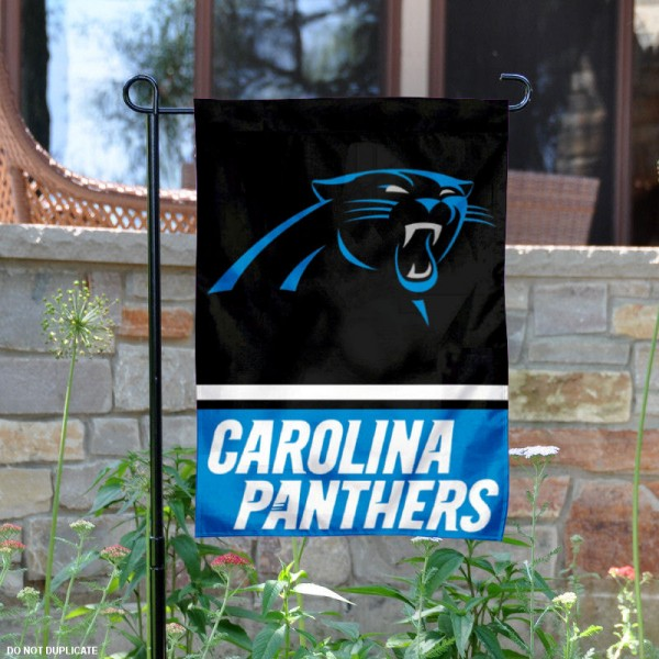 Carolina Panthers Garden Flag is 12.5x18 inches in size, is made of 2-ply polyester, and has two sided screen printed logos and lettering. Available with Express Next Day Ship, our Carolina Panthers Garden Flag is NFL Officially Licensed and is double sided.