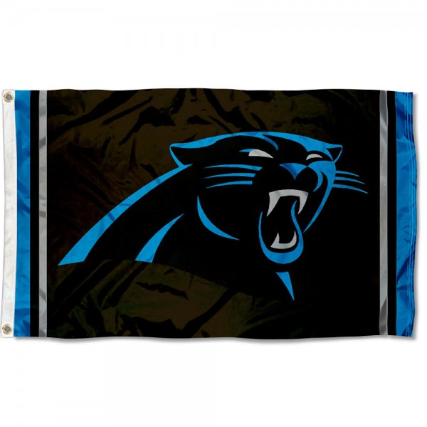 Our Carolina Panthers Logo Flag is double sided, made of poly, 3'x5', has two metal grommets, indoor or outdoor, and four-stitched fly ends. These Carolina Panthers Logo Flags are Officially Licensed by the NFL.