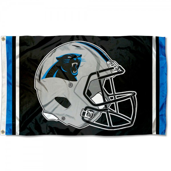 Our Carolina Panthers New Helmet Flag is two sided, made of poly, 3'x5', Overnight Shipping, has two metal grommets, indoor or outdoor, and four-stitched fly ends. These Carolina Panthers New Helmet Flags are Officially Approved by the Carolina Panthers.