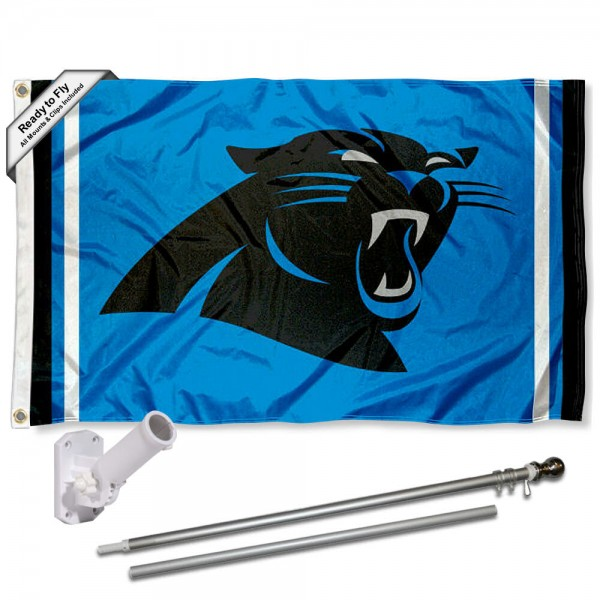 Our Carolina Panthers Panther Blue Flag Pole and Bracket Kit includes the flag as shown and the recommended flagpole and flag bracket. The flag is made of polyester, has quad-stitched flyends, and the NFL Licensed team logos are double sided screen printed. The flagpole and bracket are made of rust proof aluminum and includes all hardware so this kit is ready to install and fly.