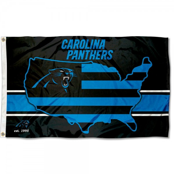 Our Carolina Panthers USA Country Flag is double sided, made of poly, 3'x5', has two metal grommets, indoor or outdoor, and four-stitched fly ends. These Carolina Panthers USA Country Flags are Officially Approved by the Carolina Panthers.