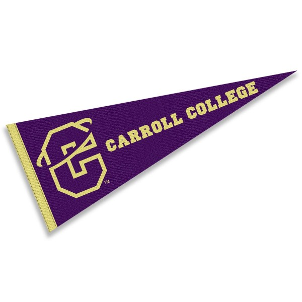 Carroll Fighting Saints Pennant consists of our full size sports pennant which measures 12x30 inches, is constructed of felt, is single sided imprinted, and offers a pennant sleeve for insertion of a pennant stick, if desired. This Carroll Fighting Saints Pennant Decorations is Officially Licensed by the selected university and the NCAA.