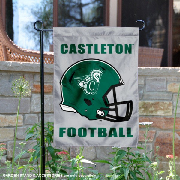 Castleton University Football Helmet Garden Banner is 13x18 inches in size, is made of 2-layer polyester, screen printed Castleton University athletic logos and lettering. Available with Same Day Express Shipping, Our Castleton University Football Helmet Garden Banner is officially licensed and approved by Castleton University and the NCAA.