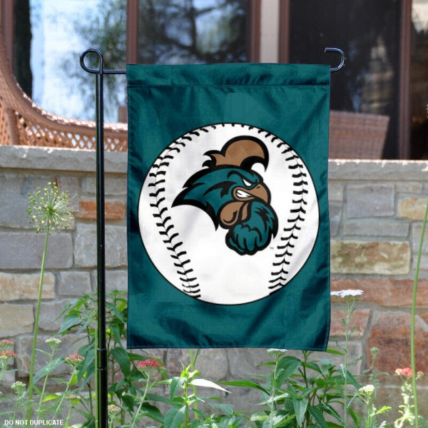 CCU Chanticleers Baseball Garden Flag is 13x18 inches in size, is made of 2-layer polyester, screen printed CCU Chanticleers Baseball athletic logos and lettering. Available with Express Shipping, Our CCU Chanticleers Baseball Garden Flag is officially licensed and approved by CCU Chanticleers Baseball and the NCAA.