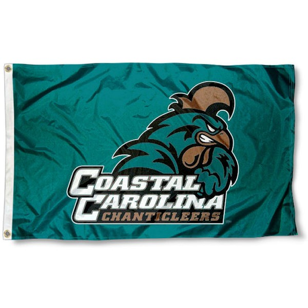 CCU Chanticleers Flag measures 3x5 feet, is made of 100% polyester, offers quadruple stitched flyends, has two metal grommets, and offers screen printed NCAA team logos and insignias. Our CCU Chanticleers Flag is officially licensed by the selected university and NCAA.