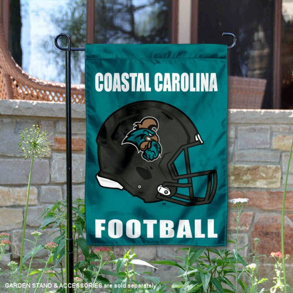 CCU Chanticleers Helmet Yard Garden Flag is 13x18 inches in size, is made of 2-layer polyester with Liner, screen printed university athletic logos and lettering, and is readable and viewable correctly on both sides. Available same day shipping, our CCU Chanticleers Helmet Yard Garden Flag is officially licensed and approved by the university and the NCAA.