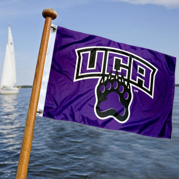 Central Arkansas Bears Boat and Mini Flag is 12x18 inches, polyester, offers quadruple stitched flyends for durability, has two metal grommets, and is double sided. Our mini flags for Central Arkansas Bears are licensed by the university and NCAA and can be used as a boat flag, motorcycle flag, golf cart flag, or ATV flag.