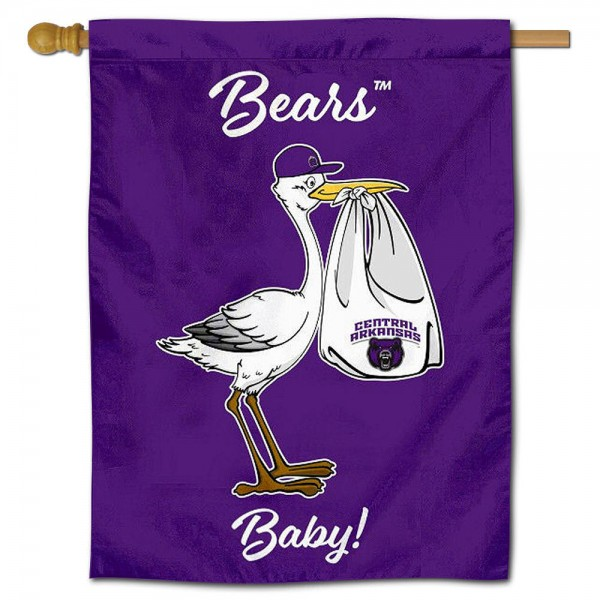 Central Arkansas Bears New Baby Flag measures 30x40 inches, is made of poly, has a top hanging sleeve, and offers dye sublimated Central Arkansas Bears logos. This Decorative Central Arkansas Bears New Baby House Flag is officially licensed by the NCAA.