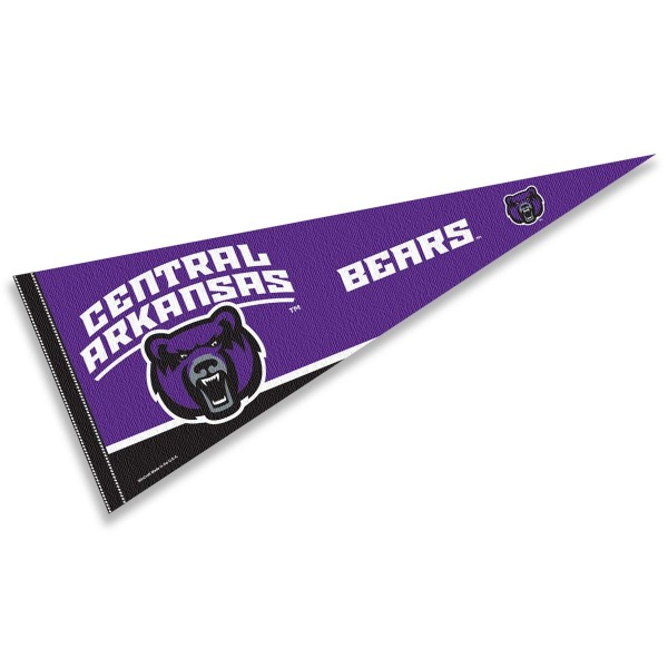 Central Arkansas University Pennant consists of our full size sports pennant which measures 12x30 inches, is constructed of felt, is single sided imprinted, and offers a pennant sleeve for insertion of a pennant stick, if desired. This Central Arkansas University Felt Pennant is officially licensed by the selected university and the NCAA.