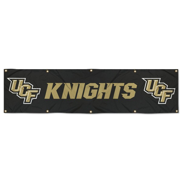 Central Florida Knights 8 Foot Large Banner measures 2x8 feet and displays Central Florida Knights logos. Our Central Florida Knights 8 Foot Large Banner is made of thick polyester and ten grommets around the perimeter for hanging securely. These banners for Central Florida Knights are officially licensed by the NCAA.