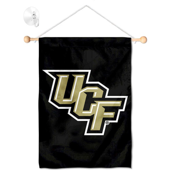 "Central Florida Knights Banner with Suction Cup kit includes our 13""x18"" garden banner which is made of 2 ply poly with liner and has screen printed licensed logos. Also, a 17"" wide banner pole with suction cup is included so your Central Florida Knights Banner with Suction Cup is ready to be displayed with no tools needed for setup. Fast Overnight Shipping is offered and the flag is Officially Licensed and Approved by the selected team."