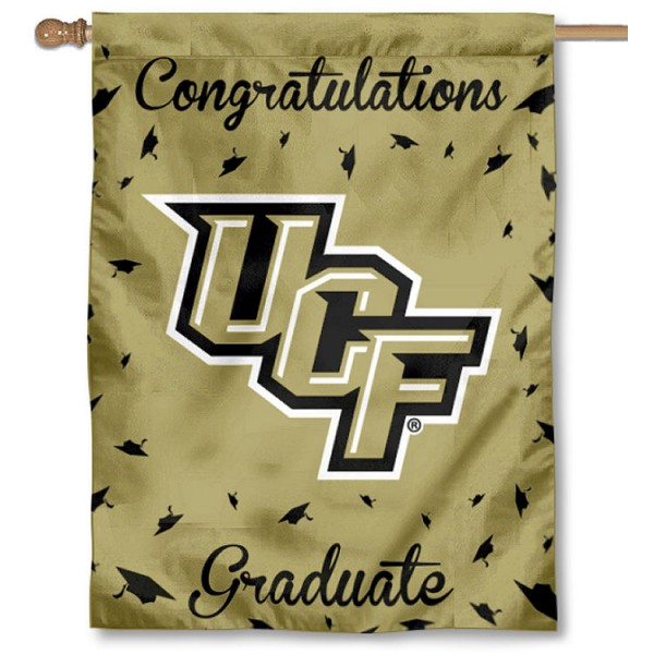Central Florida Knights Congratulations Graduate Flag measures 30x40 inches, is made of poly, has a top hanging sleeve, and offers dye sublimated Central Florida Knights logos. This Decorative Central Florida Knights Congratulations Graduate House Flag is officially licensed by the NCAA.