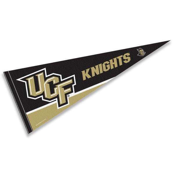 Central Florida Knights Felt Pennant consists of our full size sports pennant which measures 12x30 inches, is constructed of felt, is single sided imprinted, and offers a pennant sleeve for insertion of a pennant stick, if desired. This UCF Knights Felt Pennant is officially licensed by the selected university and the NCAA.