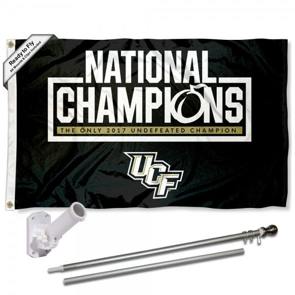 Our Central Florida Knights Flag Pole and Bracket Kit includes the flag as shown and the recommended flagpole and flag bracket. The flag is made of polyester, has quad-stitched flyends, and the NCAA Licensed team logos are double sided screen printed. The flagpole and bracket are made of rust proof aluminum and includes all hardware so this kit is ready to install and fly.
