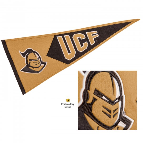 Central Florida Knights Genuine Wool Pennant consists of our full size 13x32 inch Winning Streak Sports wool college pennant. The logos, lettering and insignia is quality embroidered and appliqued, feature a alternate logo color header, and has sewn wool perimeter. This Central Florida Knights College Pennant Pennant is Officially Licensed and University Approved with Overnight Next Day Shipping.