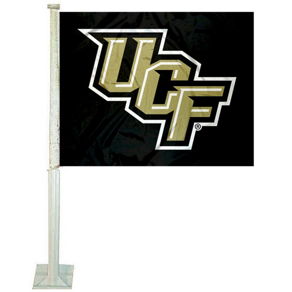 Central Florida Knights Logo Car Flag measures 12x15 inches, is constructed of sturdy 2 ply polyester, and has screen printed school logos which are readable and viewable correctly on both sides. Central Florida Knights Logo Car Flag is officially licensed by the NCAA and selected university.