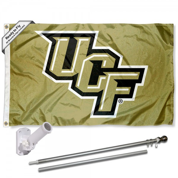 Our Central Florida Knights Metallic Flag Pole and Bracket Kit includes the flag as shown and the recommended flagpole and flag bracket. The flag is made of polyester, has quad-stitched flyends, and the NCAA Licensed team logos are double sided screen printed. The flagpole and bracket are made of rust proof aluminum and includes all hardware so this kit is ready to install and fly.