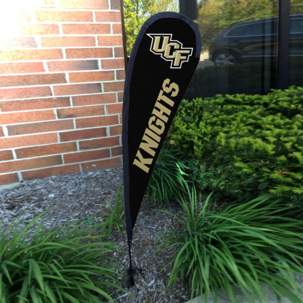 Central Florida Knights Small Feather Flag measures a 4' tall when fully assembled and roughly 1' wide. The kit includes a Feather Flag, 2 Piece Fiberglass Pole, pole connector, and matching Ground Stake. Our Central Florida Knights Small Feather Flag easily assembles and is NCAA Officially Licensed by the selected school or university.
