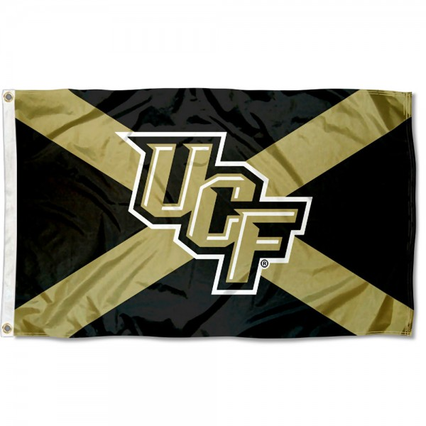 Central Florida Knights State of FL Flag measures 3x5 feet, is made of 100% polyester, offers quadruple stitched flyends, has two metal grommets, and offers screen printed NCAA team logos and insignias. Our Central Florida Knights State of FL Flag is officially licensed by the selected university and NCAA.