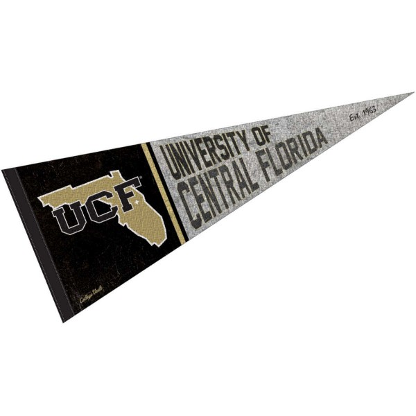 Central Florida Knights Throwback Retro Vintage Pennant Flag is 12x30 inches, is made of wool and felt, has a pennant stick sleeve, and the Central Florida Knights logos are single sided screen printed. Our Central Florida Knights Throwback Retro Vintage Pennant Flag is licensed by the university.