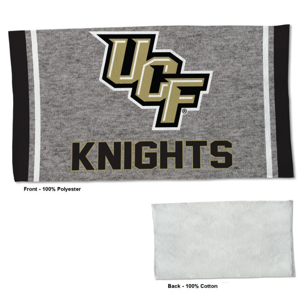 Central Florida Knights Workout Exercise Towel measures 22x42 inches, is made of 100% Polyester on the front and 100% Cotton on the back, has double stitched sewing perimeter, and Graphics and Logos, as shown. Our Central Florida Knights Workout Exercise Towel is officially licensed by the selected university and the NCAA. Also, machine washable and dryer safe.