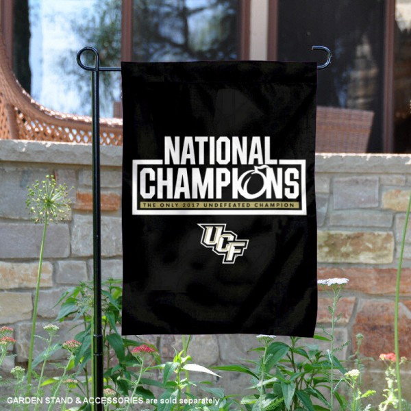Central Florida UCF Knights Undefeated 2017 National Champions Garden Flag is 13x18 inches in size, is made of 2-layer polyester, screen printed university athletic logos and lettering, and is readable and viewable correctly on both sides. Available same day shipping, our Central Florida UCF Knights Undefeated 2017 National Champions Garden Flag is officially licensed and approved by the university and the NCAA.