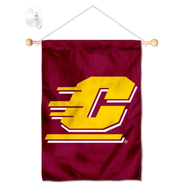 "Central Michigan Chippewas Banner with Suction Cup kit includes our 13""x18"" garden banner which is made of 2 ply poly with liner and has screen printed licensed logos. Also, a 17"" wide banner pole with suction cup is included so your Central Michigan Chippewas Banner with Suction Cup is ready to be displayed with no tools needed for setup. Fast Overnight Shipping is offered and the flag is Officially Licensed and Approved by the selected team."