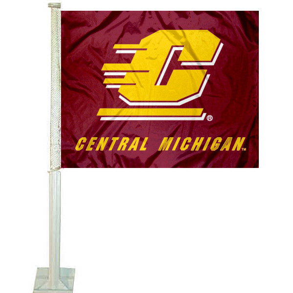Central Michigan Chippewas Car Flag measures 12x15 inches, is constructed of sturdy 2 ply polyester, and has dye sublimated school logos which are readable and viewable correctly on both sides. Central Michigan Chippewas Car Flag is officially licensed by the NCAA and selected university.