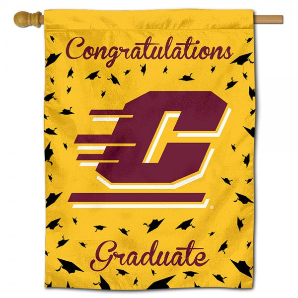 Central Michigan Chippewas Congratulations Graduate Flag measures 30x40 inches, is made of poly, has a top hanging sleeve, and offers dye sublimated Central Michigan Chippewas logos. This Decorative Central Michigan Chippewas Congratulations Graduate House Flag is officially licensed by the NCAA.
