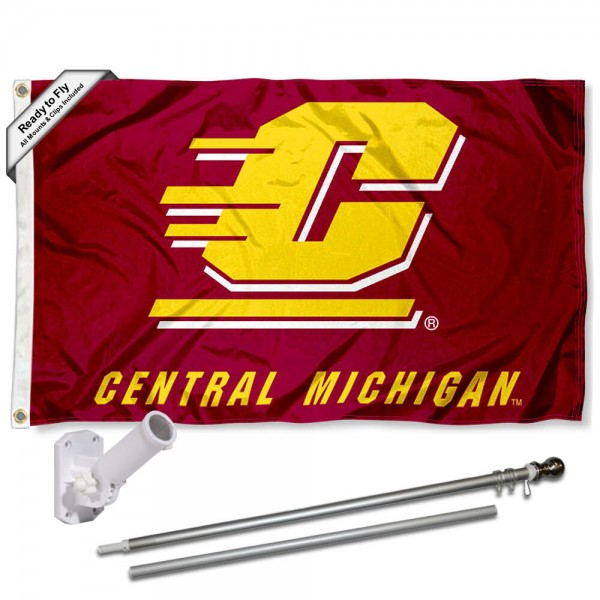 Our Central Michigan Chippewas Flag Pole and Bracket Kit includes the flag as shown and the recommended flagpole and flag bracket. The flag is made of polyester, has quad-stitched flyends, and the NCAA Licensed team logos are double sided screen printed. The flagpole and bracket are made of rust proof aluminum and includes all hardware so this kit is ready to install and fly.