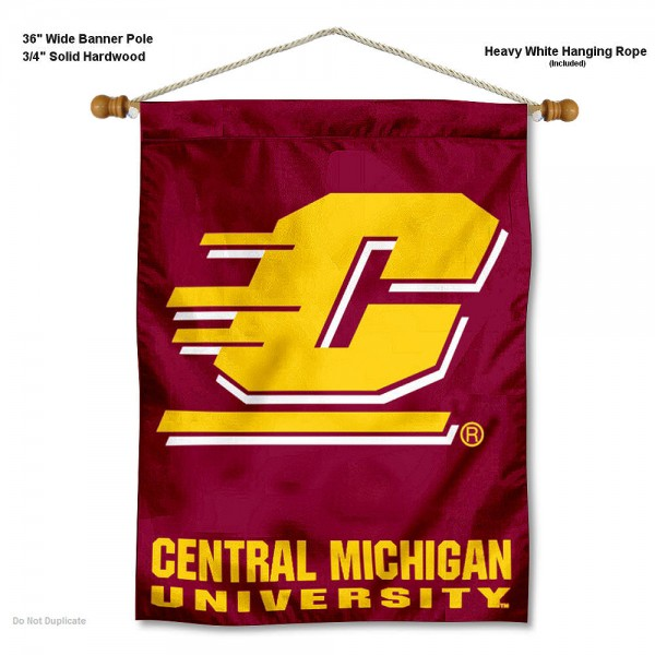 "Central Michigan Chippewas Wall Banner is constructed of polyester material, measures a large 30""x40"", offers screen printed athletic logos, and includes a sturdy 3/4"" diameter and 36"" wide banner pole and hanging cord. Our Central Michigan Chippewas Wall Banner is Officially Licensed by the selected college and NCAA."