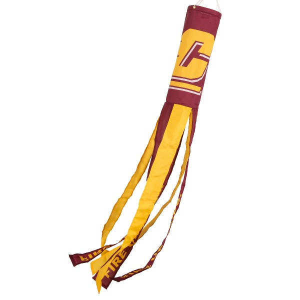 "Central Michigan Chippewas Windsock measures 40"" in length by 5"" in width, is made of 100% polyester, offers screen printed NCAA team logos, team names and insignias, has 6 alternative colored streamers and tails, includes a double stringed bridle and hanging swivel clip, and our Central Michigan Chippewas Windsock is authentic, licensed, and approved by the selected university or team."