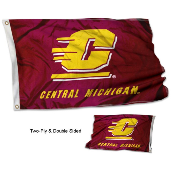 Central Michigan University Flag measures 3'x5', is made of 2 layer 100% polyester, has quadruple stitched flyends for durability, and is readable correctly on both sides. Our Central Michigan University Flag is officially licensed by the university, school, and the NCAA