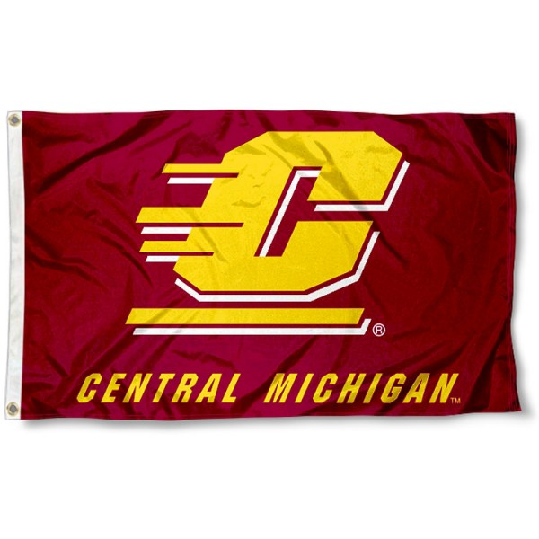 Central Michigan University Flag measures 3'x5', is made of 100% poly, has quadruple stitched sewing, two metal grommets, and has double sided Team University logos. Our Central Michigan University Flag is officially licensed by the selected university and the NCAA.