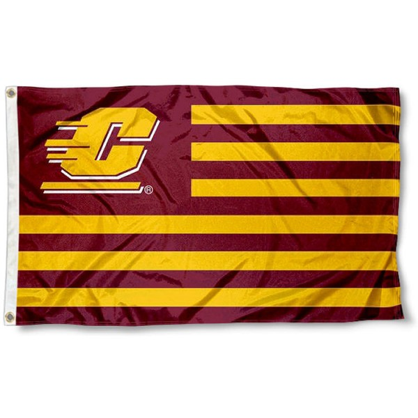 Central Michigan University Stripes Flag measures 3'x5', is made of polyester, offers double stitched flyends for durability, has two metal grommets, and is viewable from both sides with a reverse image on the opposite side. Our Central Michigan University Stripes Flag is officially licensed by the selected school university and the NCAA.