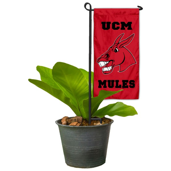 "Central Missouri Mules Flower Pot Topper Flag kit includes our 4""x8"" mini garden banner and 6"" x 14"" mini garden banner stand. The mini flag is made of 1-ply polyester, has screen printed logos and the garden stand is made of steel and powder coated black. This kit is NCAA Officially Licensed by the selected college or university."