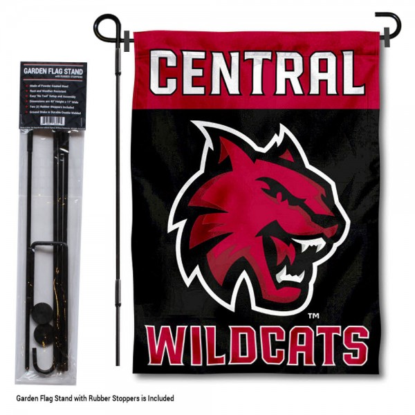 "Central Washington Wildcats Garden Flag and Pole Stand kit includes our 13""x18"" garden banner which is made of 2 ply poly with liner and has screen printed licensed logos. Also, a 40""x17"" inch garden flag stand is included so your Central Washington Wildcats Garden Flag and Pole Stand is ready to be displayed with no tools needed for setup. Fast Overnight Shipping is offered and the flag is Officially Licensed and Approved by the selected team."