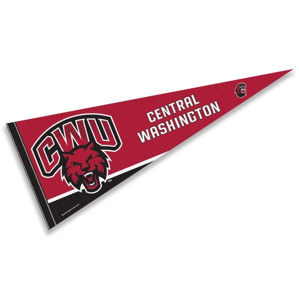 Central Washington Wildcats Pennant consists of our full size sports pennant which measures 12x30 inches, is constructed of felt, is single sided imprinted, and offers a pennant sleeve for insertion of a pennant stick, if desired. This Central Washington Wildcats Felt Pennant is officially licensed by the selected university and the NCAA.