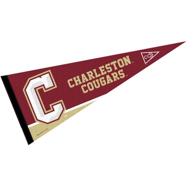 Charleston Cougars Pennant consists of our full size sports pennant which measures 12x30 inches, is constructed of felt, is single sided imprinted, and offers a pennant sleeve for insertion of a pennant stick, if desired. This Charleston Cougars Felt Pennant is officially licensed by the selected university and the NCAA.